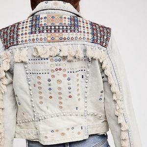 Free People Wandering Wind Denim Jacket Studded L